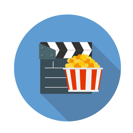 managment: Flat Design Concept Cinema Icon Vector Illustration With Long Shadow. EPS10 Illustration