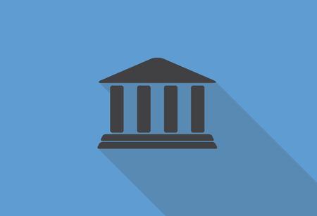 deposit slips: Flat Design Concept Bank Icon Vector Illustration With Long Shadow.  Illustration