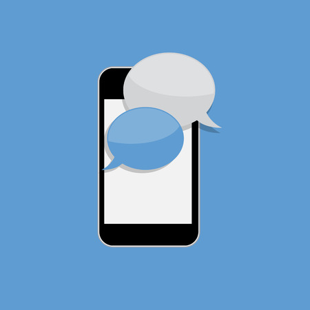 Abstract Design Flat Mobile Phone with Speech Bubbles. Vector Illustration.