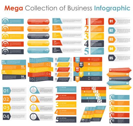 numeros: Colecci�n de plantillas de Infograf�a de ilustraci�n vectorial de negocios Vectores