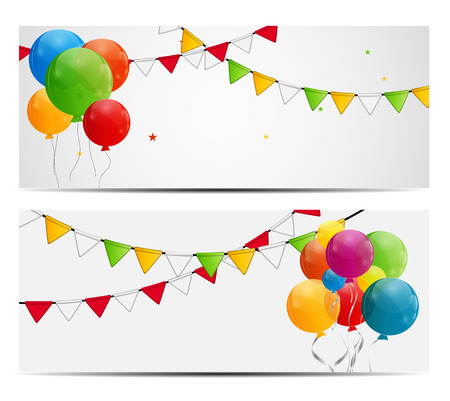 balloon border: Color Glossy Balloons Background Vector Illustration