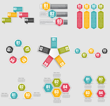 number icons: Collection of Infographic Templates for Business Vector Illustra
