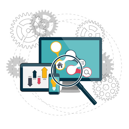 icons site search: Search Engines Optimization Concept Vector Illustration Illustration