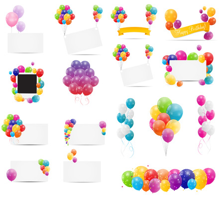 birthday cards: Color Glossy Balloons Card Mega Set Vector Illustration Illustration