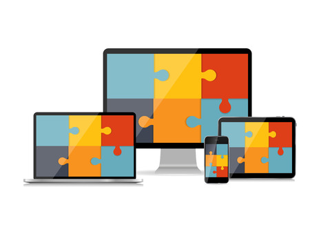 medium group of people: Fully Responsive Web Design Concept Vector Illustration