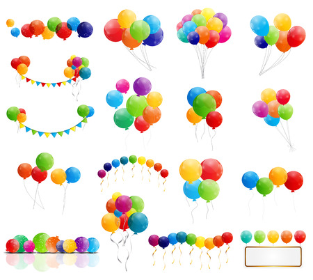 birthday party: Color Glossy Balloons Mega Set Vector Illustration Illustration