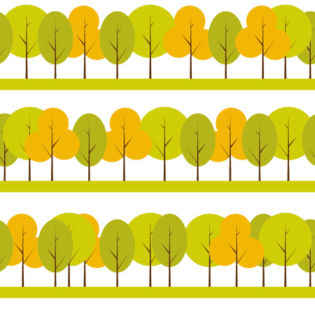 treelike: Different Trees Natural Seamless Pattern Background Vector Illus