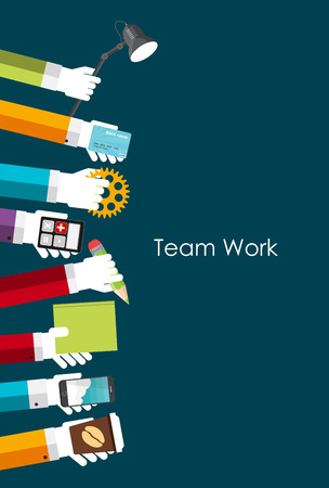 work team: Team Work Flat Concept Vector Illustration Illustration