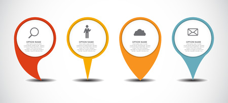 Set of Circle Pointers Infographic Business Element. Vector Illu Vettoriali