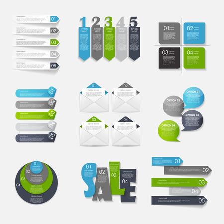 비즈니스 벡터 삽화에 대한 인포 그래픽 템플릿의 컬렉션