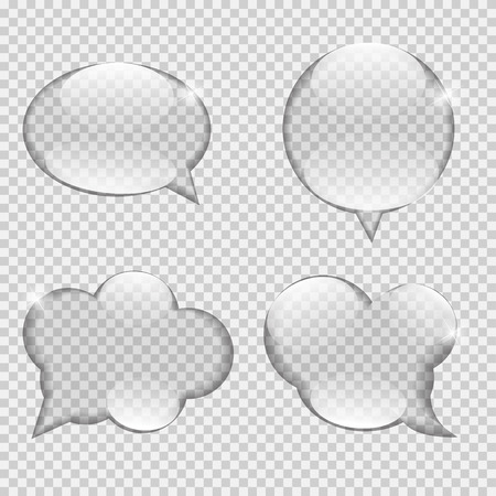 Glass Transparency Speech Bubble Vector Illustration