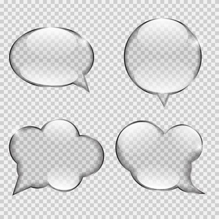 contemplation: Glass Transparency Speech Bubble Vector Illustration