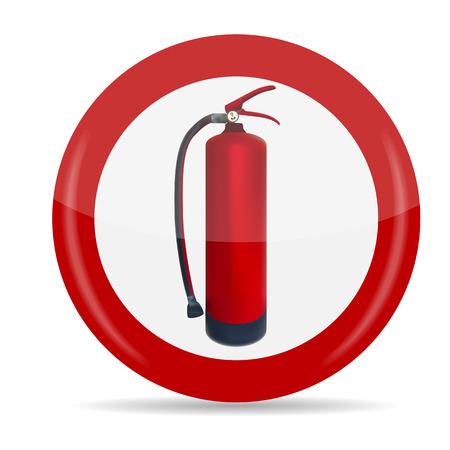 fire extinguishing: Fire Extinguisher Sign Vector Illustration