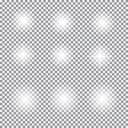sterne: Set Glühend Helle Sterne mit Sparkles Vektor-Illustration