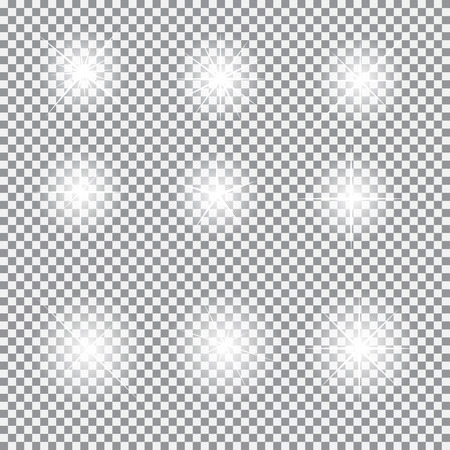 light  beam: Set of Glowing Light Stars with Sparkles Vector Illustration