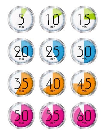 minutes: Silver Watch Designation Minutes. Vector Illustration EPS10