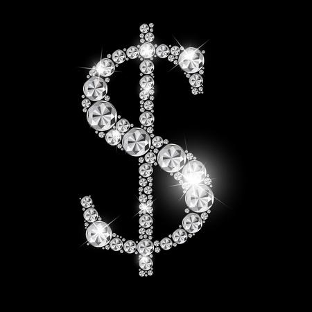 multi layered effect: Abstract Luxury Black Diamond Dollar Sign Vector Illustration