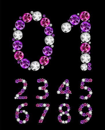 multi layered effect: Abstract Luxury Diamond Numbers Vector Illustration