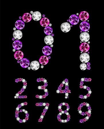multi layered: Abstract Luxury Diamond Numbers Vector Illustration