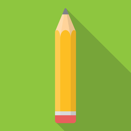 Yellow Pencil Flat Icon with Long Shadow Vector Illustration