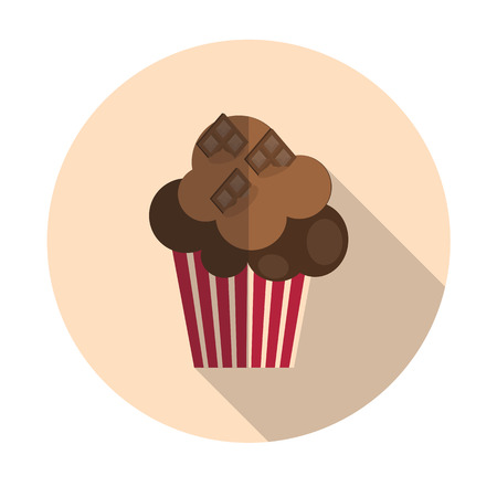 managment: Flat Design Concept Cupcake with Cherries Vector Illustration Wi