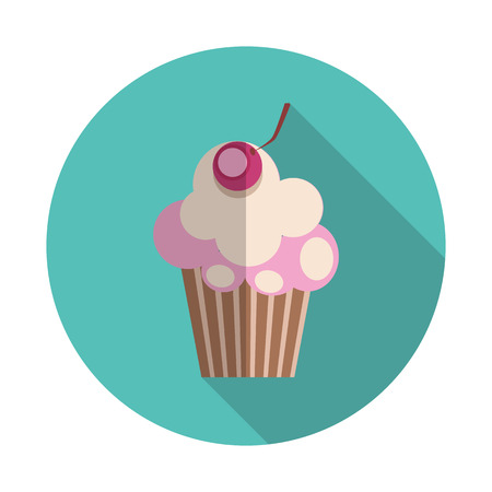 sweetness: Flat Design Concept Cupcake with Cherries Vector Illustration Wi