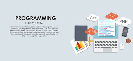 prototyping: Programming Coding Concept Flat Background Vector Illustration