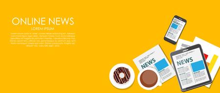 online news: Online News Vector illustration. Flat computing background.