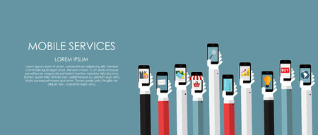 internet phone: Mobile Services Vector illustration. Flat computing background