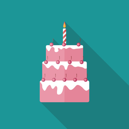wedding cake illustration: Birthday Cake Flat Icon with Long Shadow, Vector Illustration