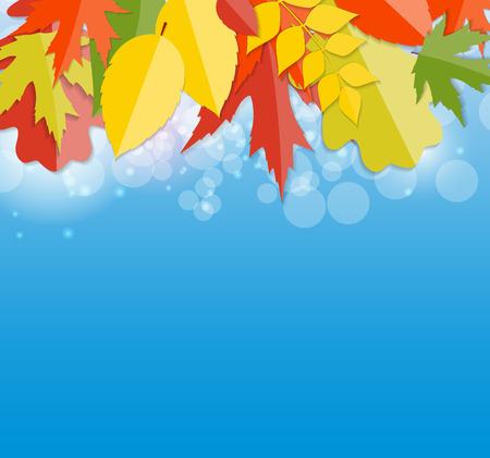shiny background: Shiny Autumn Natural Leaves Background. Vector Illustration