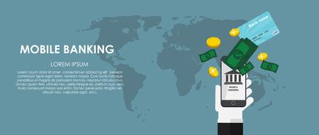 mobile banking: Mobile Banking Vector illustration. Flat computing background.