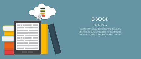 e reader: E-Book Vector illustration. Flat computing background