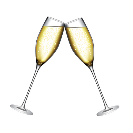 Glass of Champagne Vector Illustration Çizim