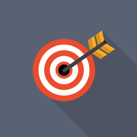 targeted: Target Flat Icon with Long Shadow, Vector Illustration Illustration