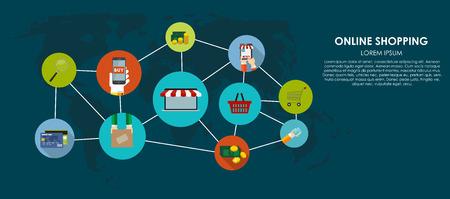 redes de mercadeo: Online Shopping Ilustración vectorial. Antecedentes Computing plana