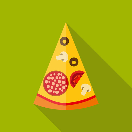 savoury: Pizza Flat Icon with Long Shadow, Vector Illustration Illustration