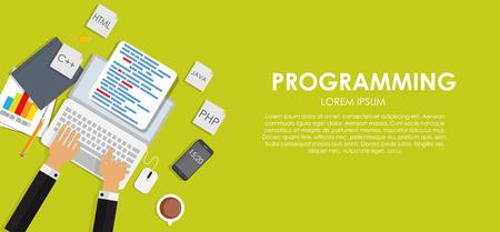java script: Programming Coding Concept Flat Background Vector Illustration
