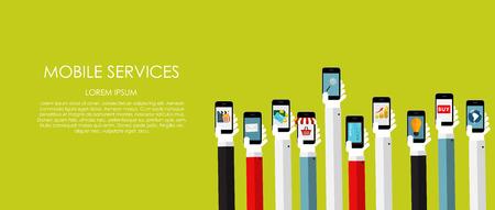ecommerce: Mobile Services Vector illustration. Flat computing background