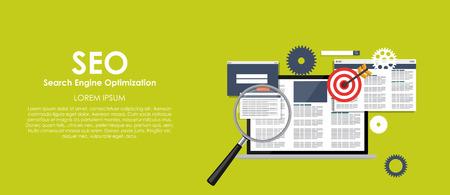 SEO Search Engine Optimazation Vector illustration. Flat computi