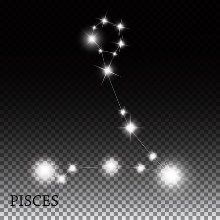 prognosis: Pisces Zodiac Sign of the Beautiful Bright Stars Vector Illustra