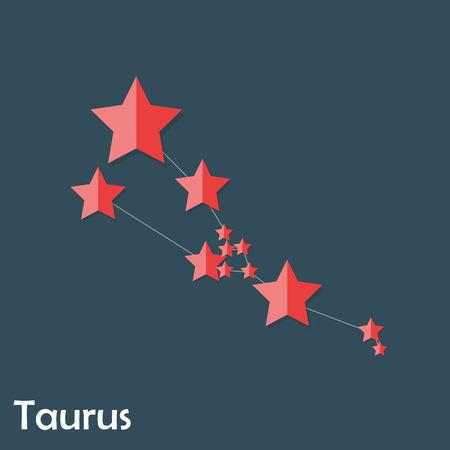 astronomic: Taurus Zodiac Sign of the Beautiful Bright Stars Vector Illustra