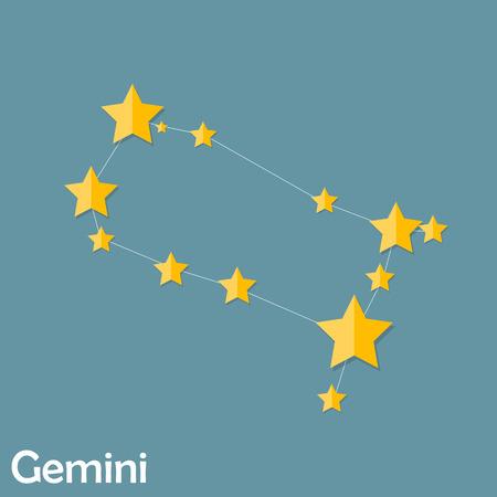 prognosis: Gemini Zodiac Sign of the Beautiful Bright Stars Vector Illustra