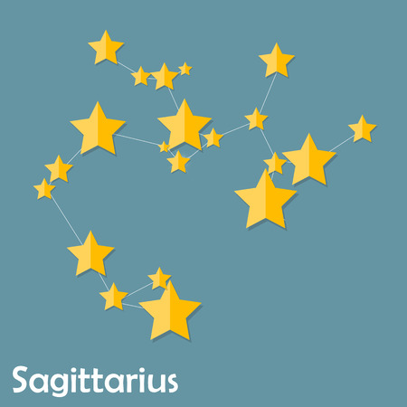 zodiacal symbol: Sagittarius Zodiac Sign of the Beautiful Bright Stars Vector Ill Illustration