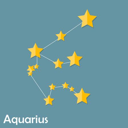 illust: Aquarius Zodiac Sign of the Beautiful Bright Stars Vector Illust