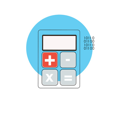 managment: Line Icon with Flat Graphics Element of Calculator Vector Illust