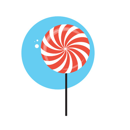 illus: Line Icon with Flat Graphics Element of Sweet Candy Vector Illus Illustration