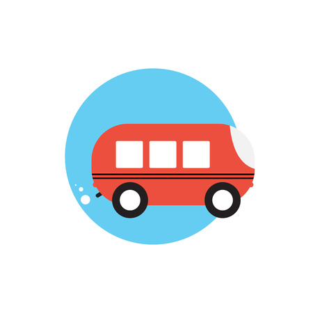 siluette: Line Icon with Flat Graphics Element of Bus Vector Illustration