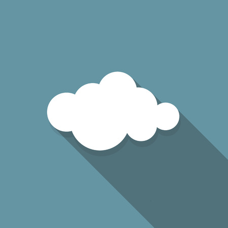 Cloud Flat Icon with Long Shadow, Vector Illustration