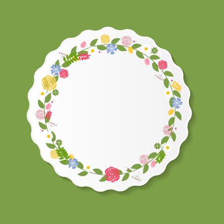 Vintage Frame with Flowers Vector Illustration